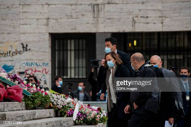 Luciana Lamorgese , the Minister for the Interior arrives at St. Nicholas Church to attend the funeral ceremony of the Calabria regional governor...