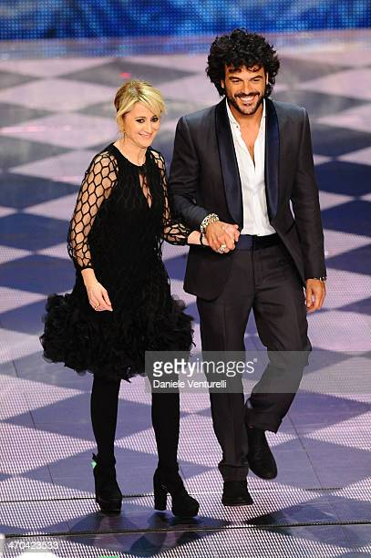 Luciana Littizzetto and Francesco Renga attend the second night of the 64th Festival di Sanremo 2014 at Teatro Ariston on February 19, 2014 in...