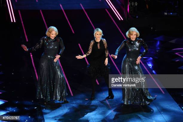 Luciana Littizzetto and Gemelle Kessler attend the second night of the 64th Festival di Sanremo 2014 at Teatro Ariston on February 19, 2014 in...