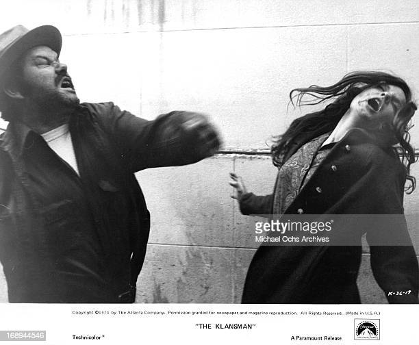 Luciana Paluzzi is assaulted in a scene from the film 'Klansman' 1974