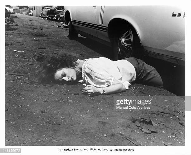 Luciana Paluzzi served an aide to the mob meets a violent death in an automobile junkyard in a scene from the film 'The Italian Connection' 1973
