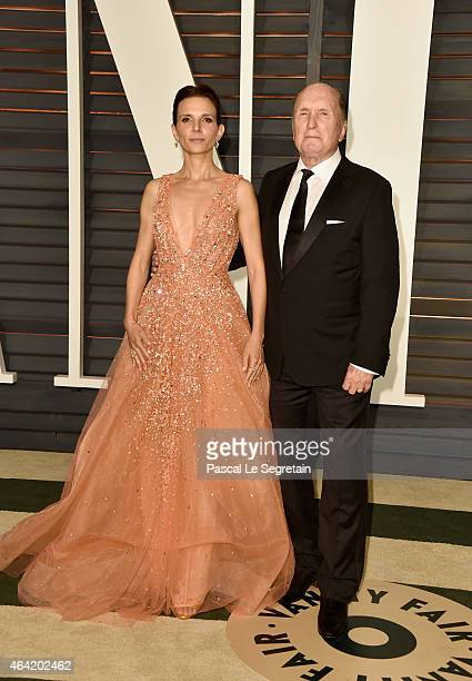 Luciana Pedraza and actor Robert Duvall attend the 2015 Vanity Fair Oscar Party hosted by Graydon Carter at Wallis Annenberg Center for the...