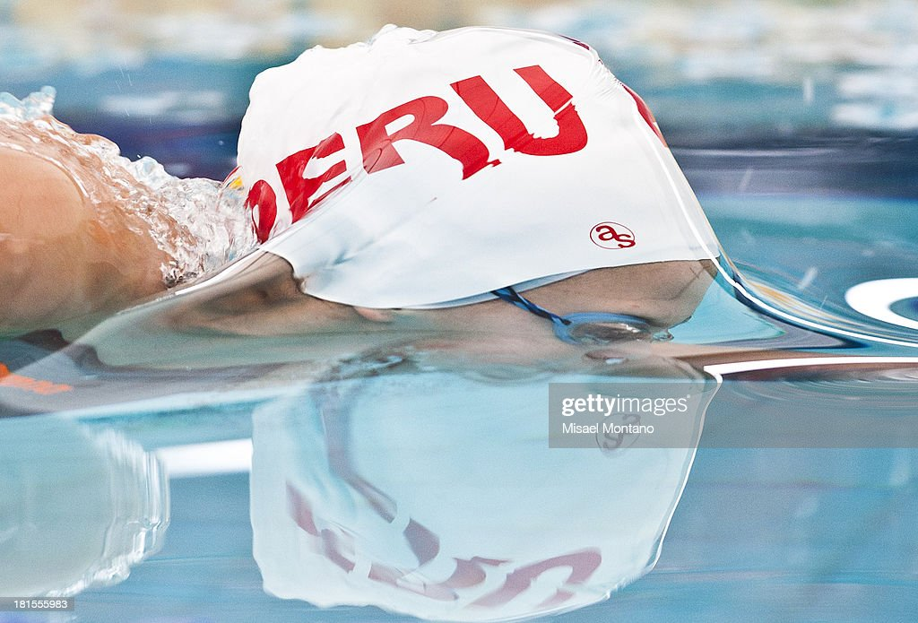 Luciana Pun of Peru competes during the Women's 100 meter freestyle as part of the I ODESUR South American Youth Games at Piscina Olímpica Campo de Marte on September 22, 2013 in Lima, Peru.