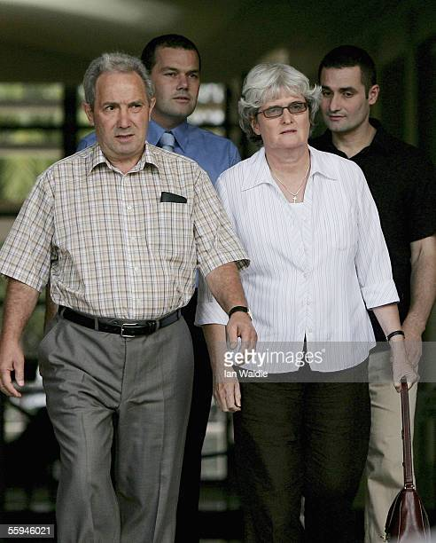 Luciano and Joan Falconio parents of Peter Falconio and brothers Paul and Nick leave the Northern Territory Supreme Court flanked by police officers...