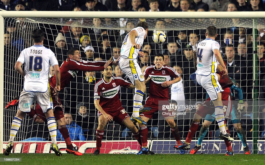 Luciano Becchio of Leeds United heads his side's second goal during the npower Championship match between Leeds United and Middlesbrough at Elland Road on December 22, 2012 in Leeds, England.