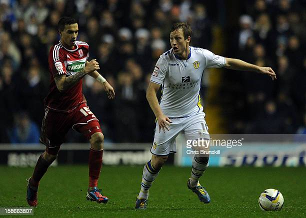 Luciano Becchio of Leeds United in action with Seb Hines of Middlesbrough during the npower Championship match between Leeds United and Middlesbrough...