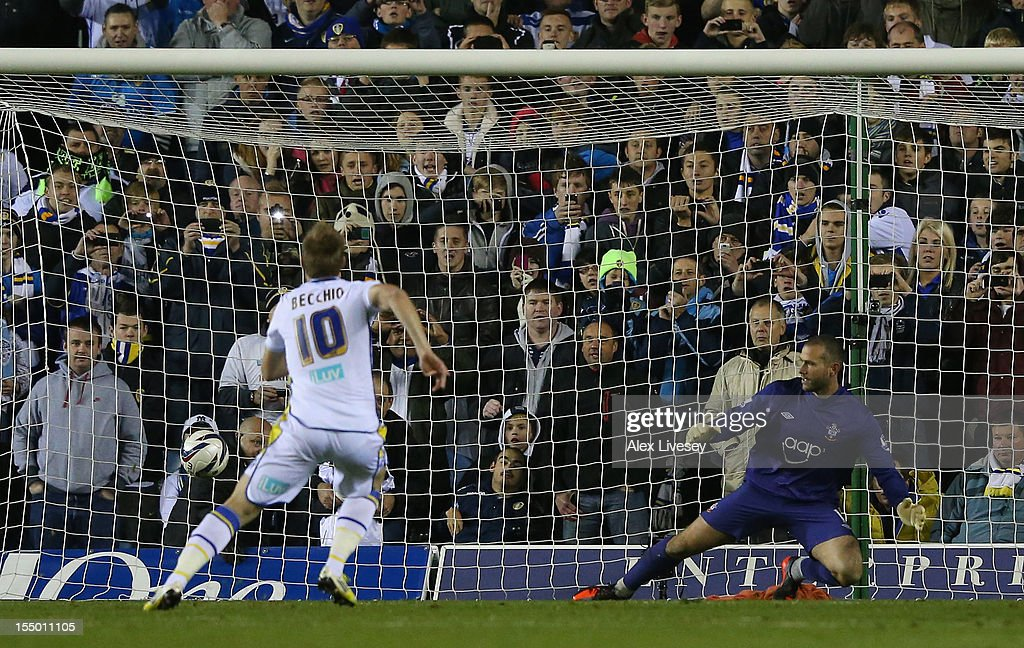 Luciano Becchio of Leeds United scores his team's third goal, from the penalty spot, during the Capital One Cup Fourth Round match between Leeds United and Southampton at Elland Road on October 30, 2012 in Leeds, England.