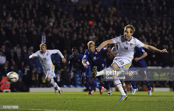 Luciano Becchio of Leeds United scores the opening goal from the penalty spot during the npower Championship match between Leeds United and Leicester...