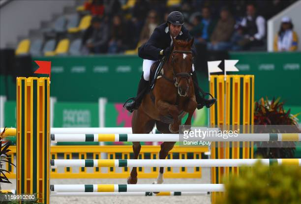 Luciano Brunello of Argentina rides Maria Teresa during Equestrian Eventing Individual - Jumping Final at Army Equestrian School on Day 9 of Lima...