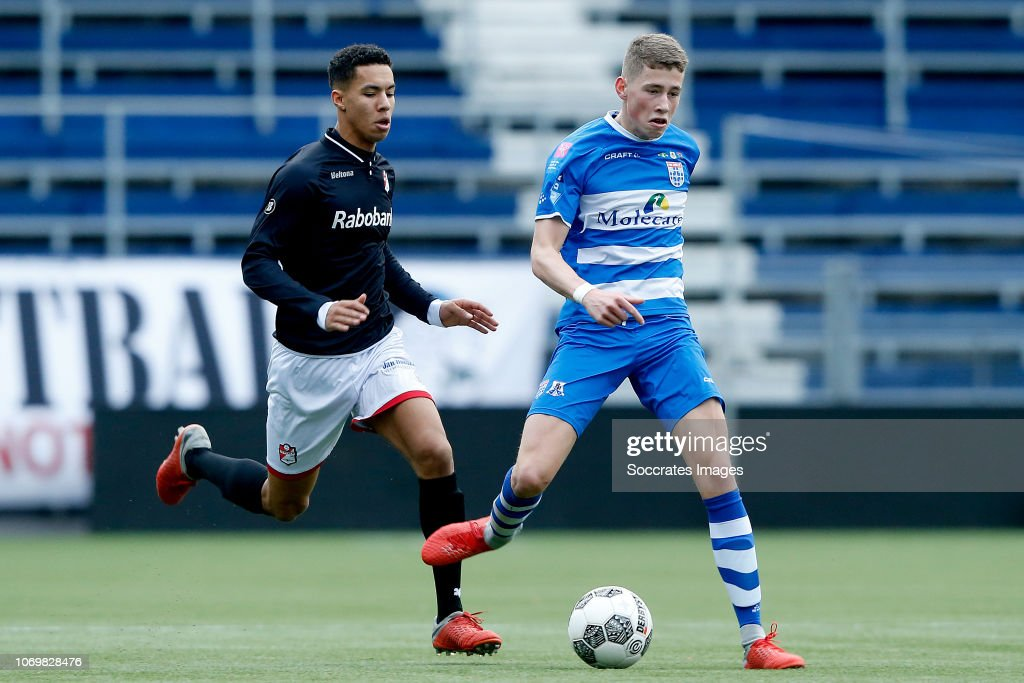 Luciano Carty Of Fc Emmen U19 Max Koelen Of Pec Zwolle U19 During News Photo Getty Images