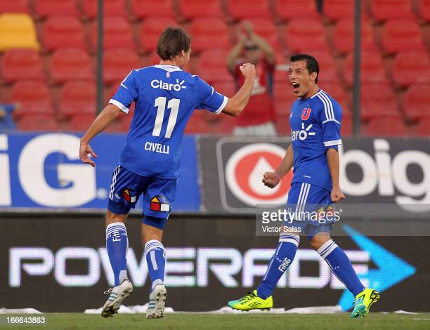 Luciano Civelli of Universidad de Chile celebrates a scored goal during a match between Universidad de Chile and Palestino as part of the Torneo...