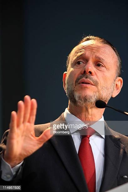 Luciano Coutinho president of Banco Nacional de Desenvolvimento Economico e Social Brazil's state development bank known as BNDES speaks during the...