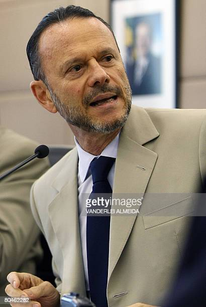 Luciano Coutinho president of Brazil's BNDES speaks on April 1 2008 in Rio de Janeiro Brazil after signing with Vale do Rio Doce mining company a...