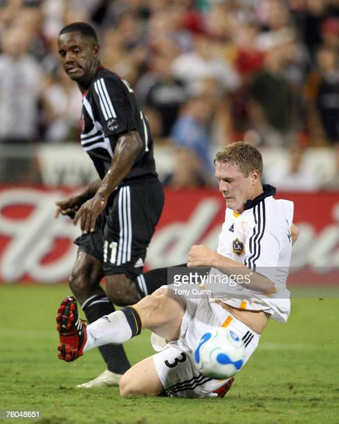 Luciano Emilio can only turn and watch as Ty Harden sweeps the ball clear for the Galaxy DC United beat the Los Angeles Galaxy 10 at soldout RFK...