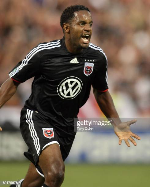 Luciano Emilio of DC United reacts after scoring the first goal during an MLS match against the Kansas City Wizards at RFK Stadium on August 2 2008...