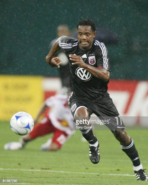 Luciano Emilio of D.C. United scored a hat trick during an MLS match against the New York Red Bulls at R.F.K stadium on June 14, 2008 in Washington...