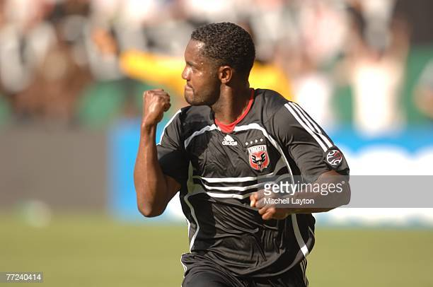 Luciano Emilo of DC United celebrates a goal during a MLS soccer match against the New England Revolution on September 9 2007 at RFK Stadium in...