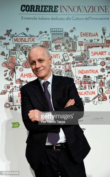 Luciano Fontana Director of Corriere della Sera poses during the launch of Corriere Innovazione at the Unicredit Pavilion on February 23 2018 in...