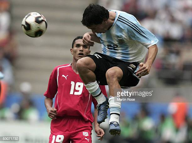 Luciano Galletti of Argentina and Anis Ayari of Tunisia in action during the FIFA Confederations Cup Match between Argentina and Tunisia on June 15...