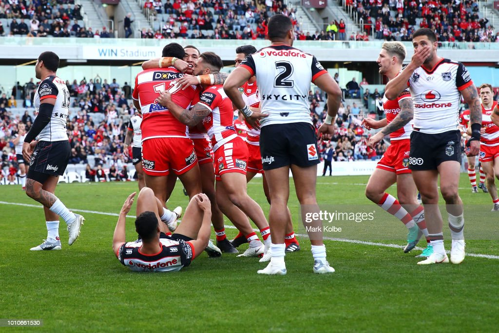 Luciano Leilua of the Dragons celebrates with his team mates after scoring a try during the round 21 NRL match between the St George Illawarra Dragons and the New Zealand Warriors at WIN Stadium on August 4, 2018 in Wollongong, Australia.