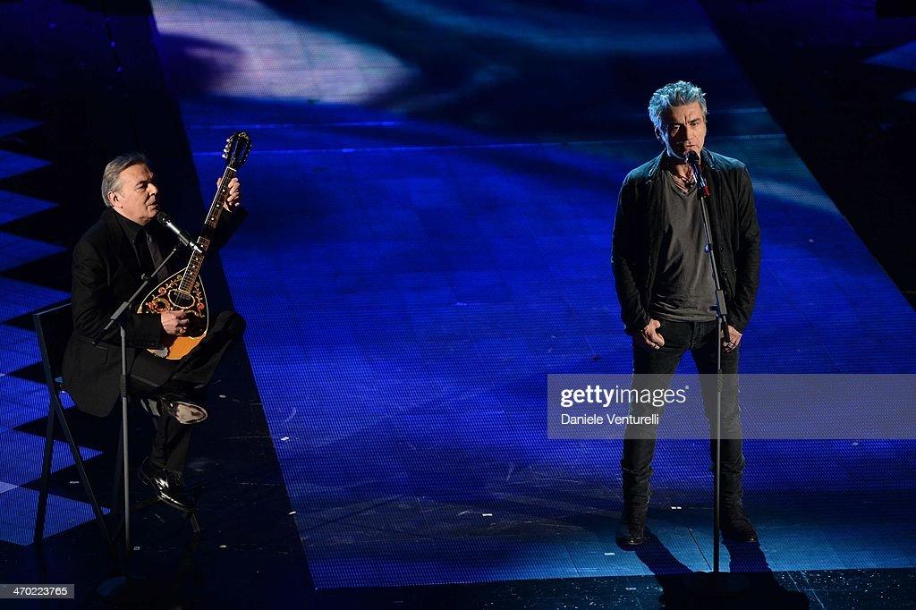 Luciano Ligabue and Mauro Pagani attend opening night of the 64th Festival di Sanremo 2014 at Teatro Ariston on February 18, 2014 in Sanremo, Italy.