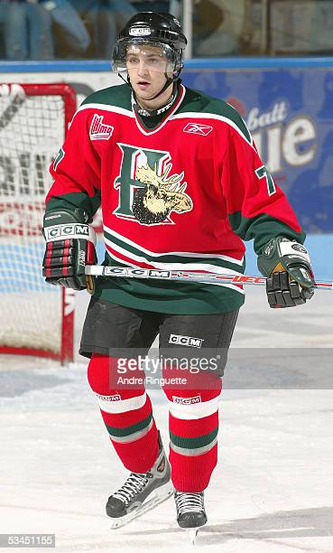 Luciano Lomanno of the Halifax Mooseheads skates against Gatineau Olympiques during the Quebec Major Junior Hockey League game at Robert-Guertin...