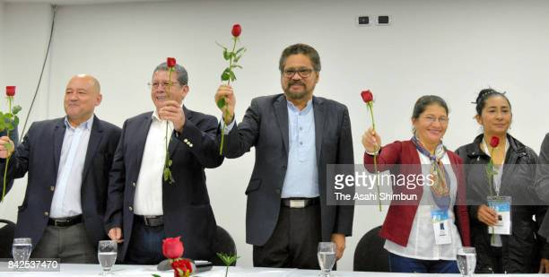 Luciano Marin Arango aka Ivan Marquez one of the leaders of disarmed guerrilla group Revolutionary Armed Forces of Colombia celebrates its political...