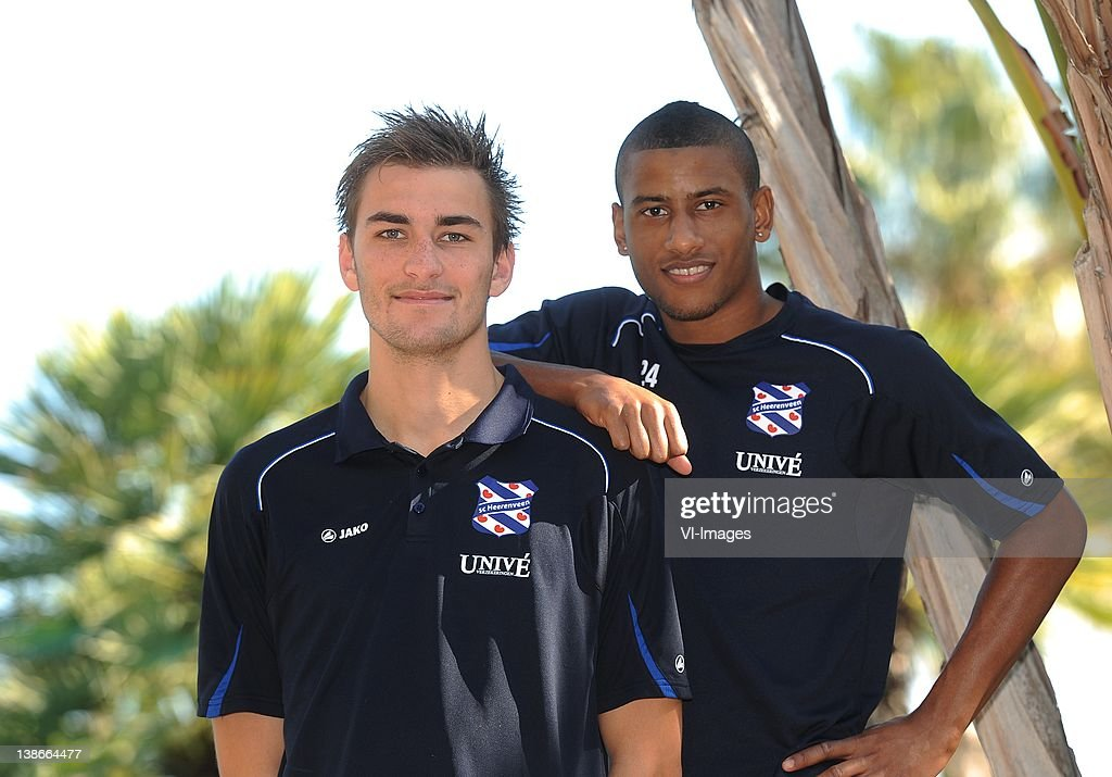 Luciano Narsingh (R),Bas Dost (L) of SC Heerenveen during a photoshoot at the winter training camp on January 11, 2012 in Ferreira, Portugal.
