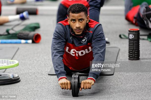 Luciano Narsingh exercises in the gym during the Swansea City Training and Press Conference at The Fairwood Training Ground on February 08 2017 in...