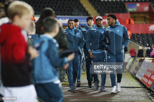 Luciano Narsingh Ki Sungyueng Jordan Ayew and Leroy Fer arrives at Liberty Stadium prior to kick off of the Premier League match between Swansea City...