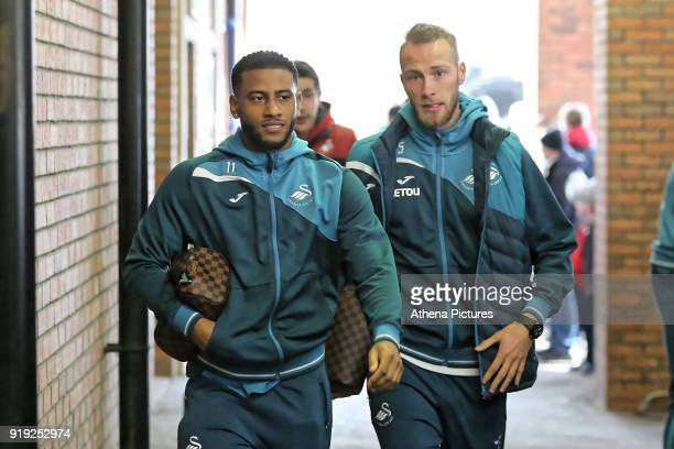 Luciano Narsingh of Swansea City and Mike van der Hoorn of Swansea City arrive prior to the game during The Emirates FA Cup Fifth Round match between...