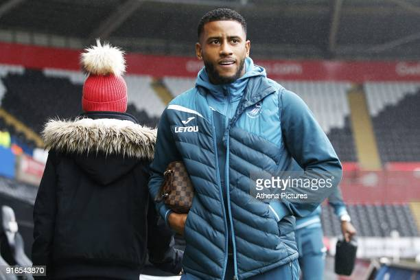 Luciano Narsingh of Swansea City arrives at Liberty Stadium prior to kick off of the Premier League match between Swansea City and Burnley at the...
