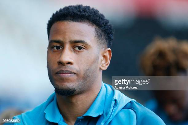 Luciano Narsingh of Swansea City arrives at Liberty Stadium prior to kick off of the Premier League match between Swansea City and Southampton at...