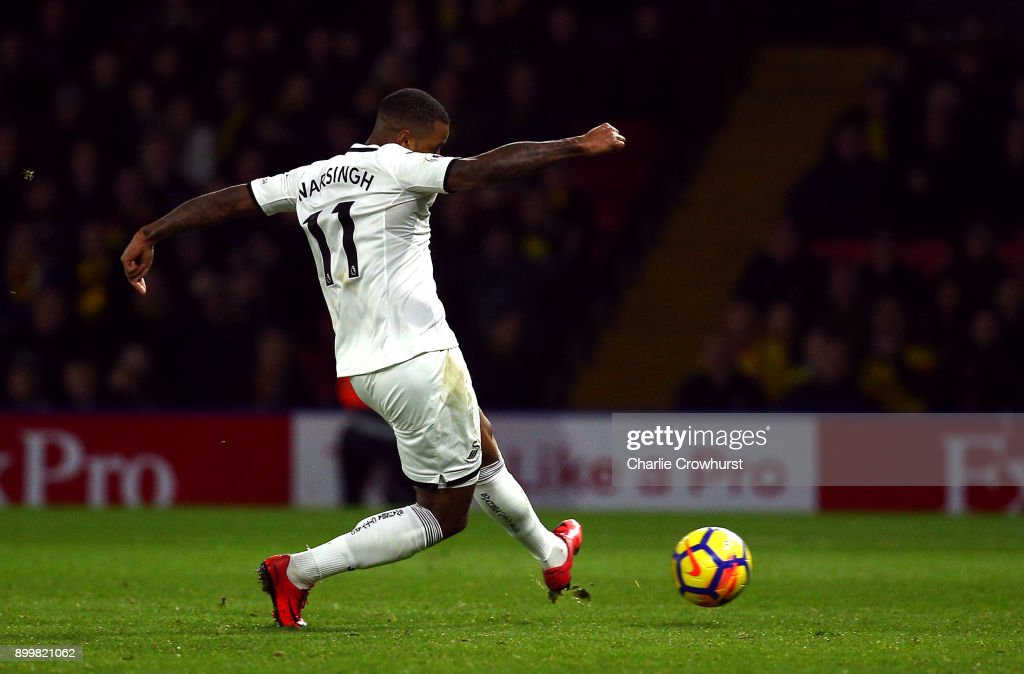 Luciano Narsingh of Swansea City scores his team's second goal during the Premier League match between Watford and Swansea City at Vicarage Road on December 30, 2017 in Watford, England.