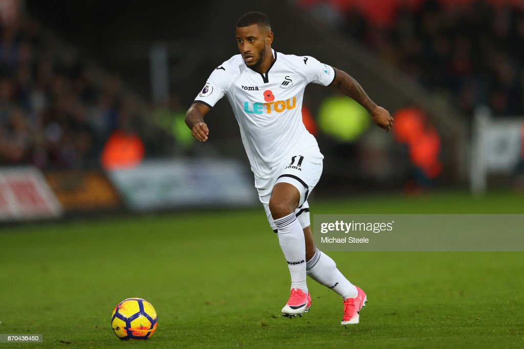 Luciano Narsingh of Swansea during the Premier League match between Swansea City and Brighton and Hove Albion at the Liberty Stadium on November 4, 2017 in Swansea, Wales.