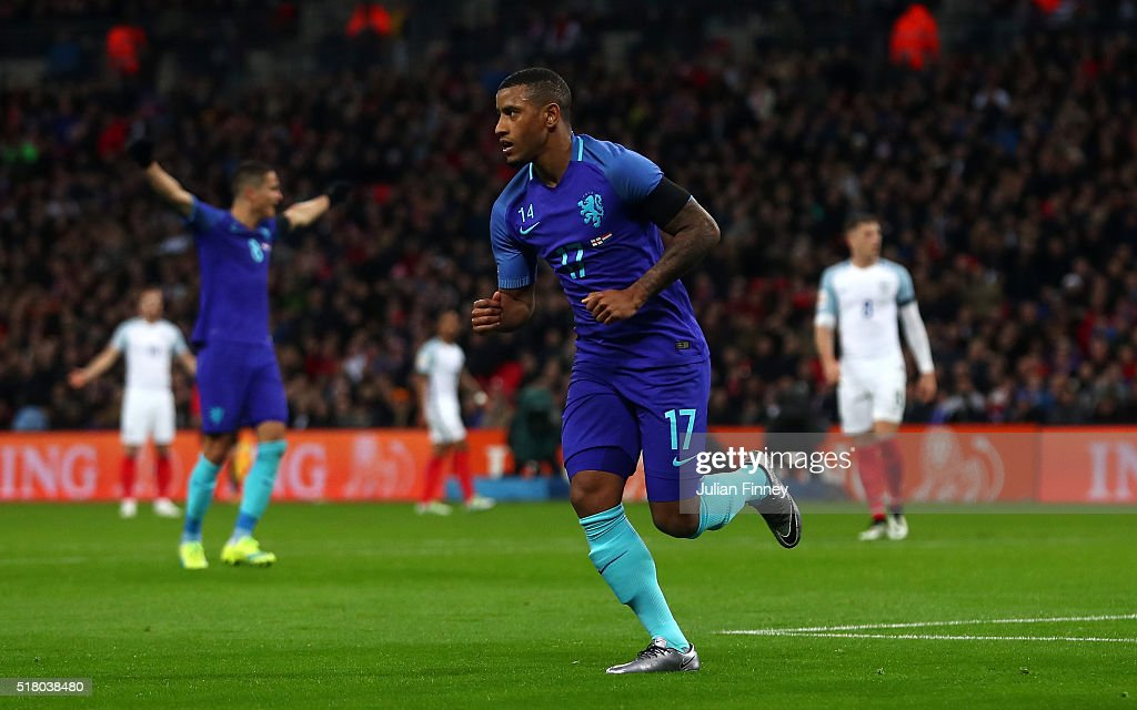 Luciano Narsingh of the Netherlands celebrates scoring his sides second goal during the International Friendly match between England and Netherlands at Wembley Stadium on March 29, 2016 in London, England.