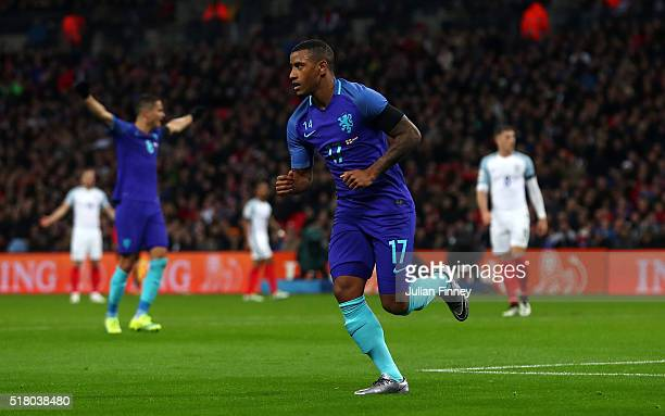 Luciano Narsingh of the Netherlands celebrates scoring his sides second goal during the International Friendly match between England and Netherlands...