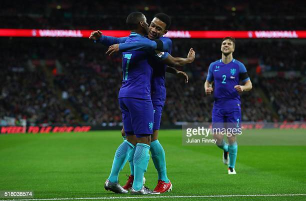 Luciano Narsingh of the Netherlands celebrates scoring his sides second goal with Memphis Depay during the International Friendly match between...