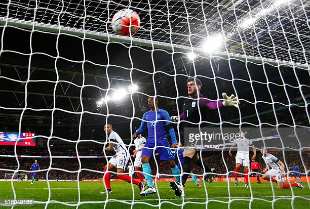 Luciano Narsingh of the Netherlands scores his sides winning goal past Fraser Forster of England during the International Friendly match between...