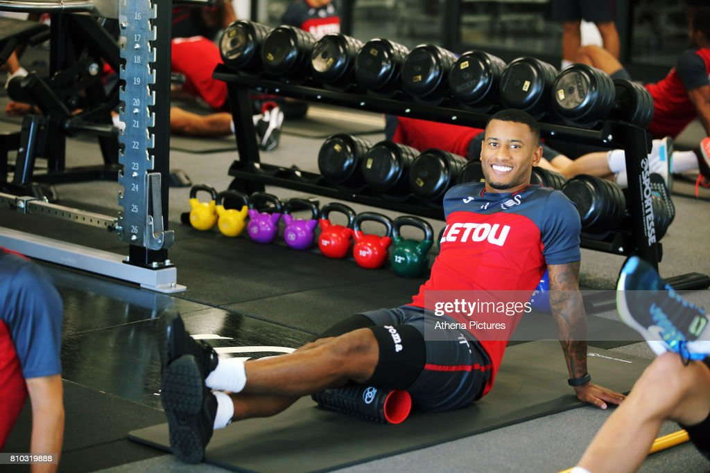 Luciano Narsingh works out in the gym during the Swansea City Training at The Fairwood Training Ground on July 5, 2017 in Swansea, Wales.