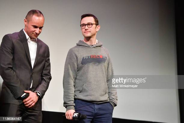Luciano Nascimento and Joseph GordonLevitt speak onstage during the Band Together With Logic 2019 SXSW Conference and Festivals at Paramount Theatre...