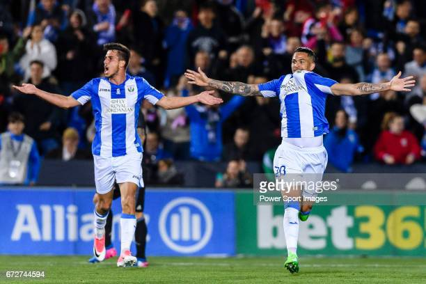 Luciano Neves of Deportivo Leganes celebrates with teammate Gabriel Appelt Pires during their La Liga match between Deportivo Leganes and Real Madrid...