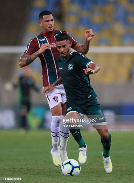 Luciano of Fluminense struggles for the ball with Jefferson of Goias during a match between Fluminense and Goias as part of Brasileirao Series A 2019...