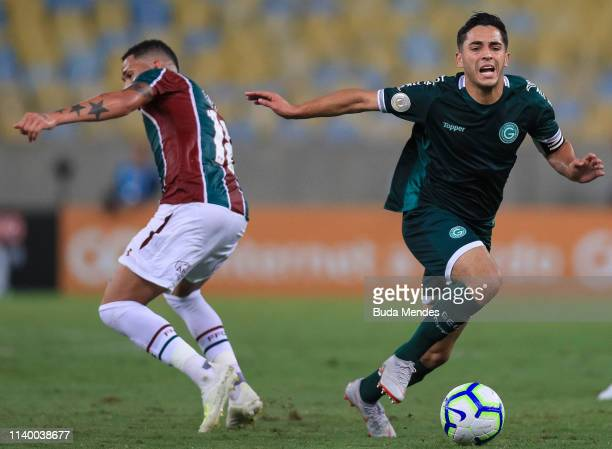 Luciano of Fluminense struggles for the ball with Renatinho of Goias during a match between Fluminense and Goias as part of Brasileirao Series A 2019...