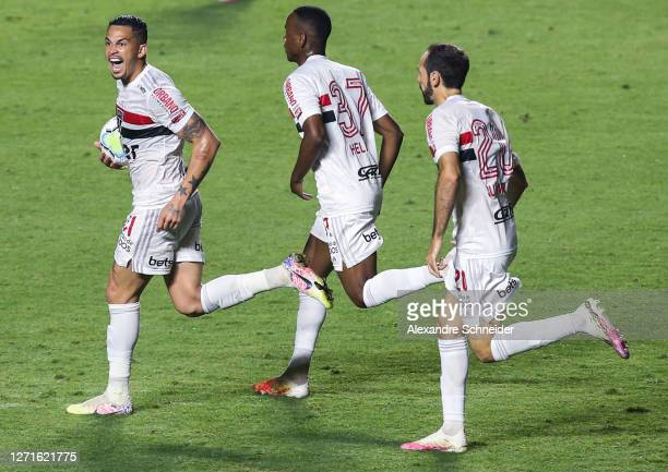 Luciano of Sao Paulo celebrates after scoring the first goal of his team during the match against Red Bull Bragantino as part of Brasileirao Series A...