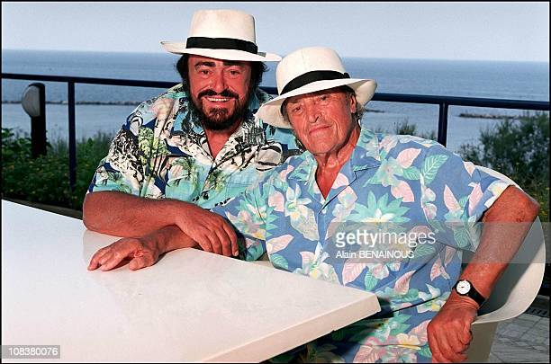Luciano Pavarotti and his father Fernando in Pesaro Italy on August 20 2001