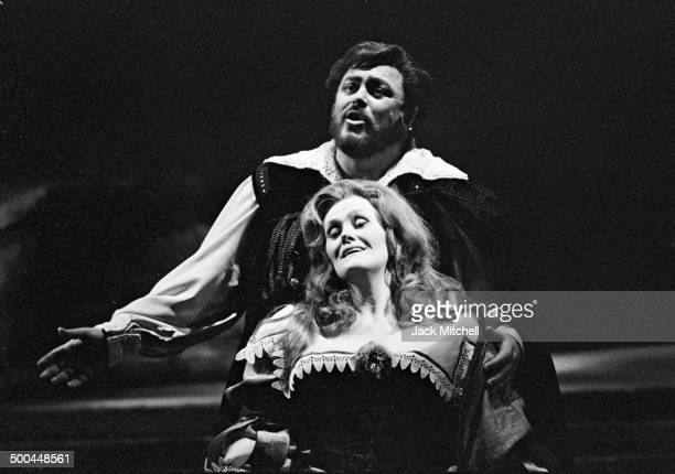 Luciano Pavarotti and Joan Sutherland starring in the Metropolitan Opera's 'I Puritani' photographed on February 25 1975