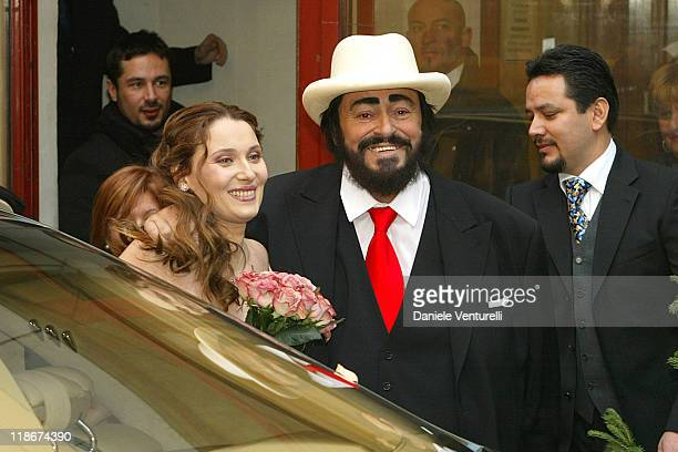Luciano Pavarotti and Nicoletta Mantovani during Luciano Pavarotti Marries Nicoletta Mantovani at Teatro Comunale in Modena in Modena, Italy.