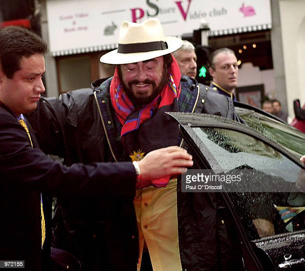 Luciano Pavarotti arrives at the International Federation of Phonographic Industries fourth annual Platinum Europe Awards July 10 2002 in Brussels...