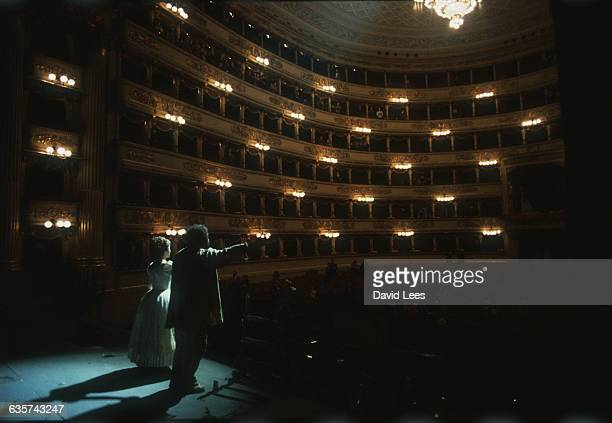 Luciano Pavarotti as Memorino in Doninzetti's Elisir d'amore at La Scala Milan Italy
